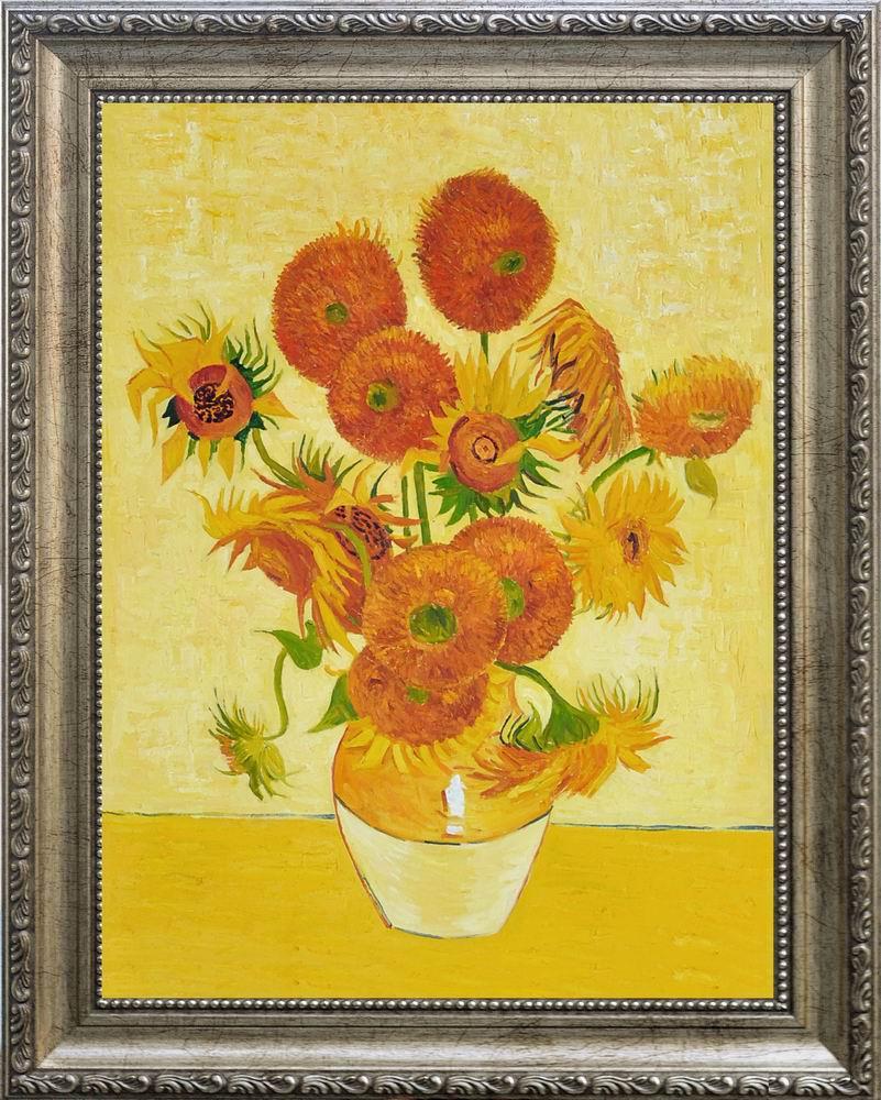 【送料無料】複製名画油絵 ゴッホ作「14輪のひまわり」額付き 絵画サイズ: 30x40 cm