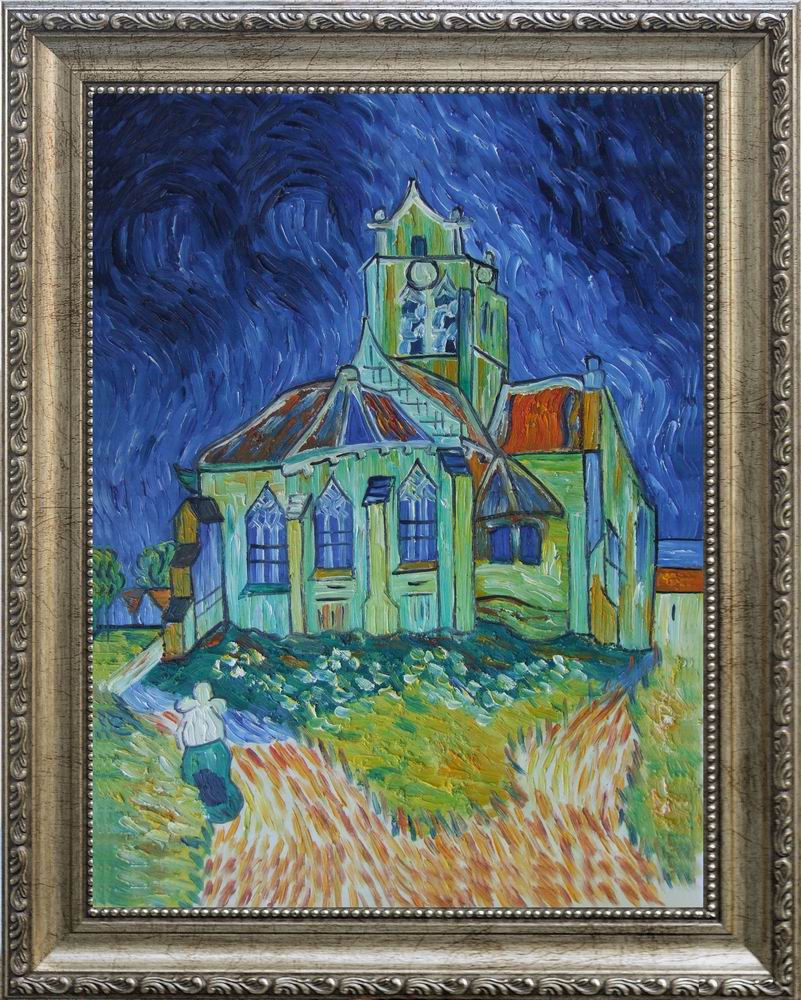 【送料無料】複製名画油絵 ゴッホ作「オーヴェールの教会」 額付き 絵画サイズ: 30x40cm