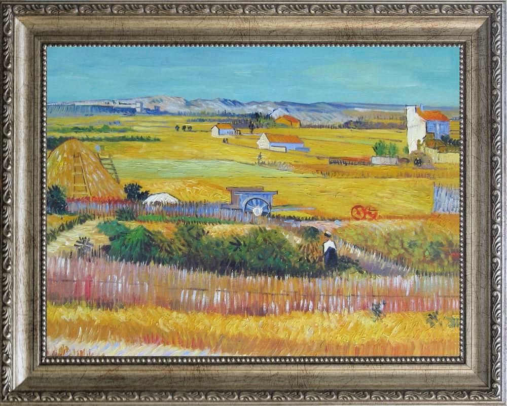 【送料無料】複製名画油絵 ゴッホ作「ラ・クローの収穫」 額付き 絵画サイズ: 30x40 cm