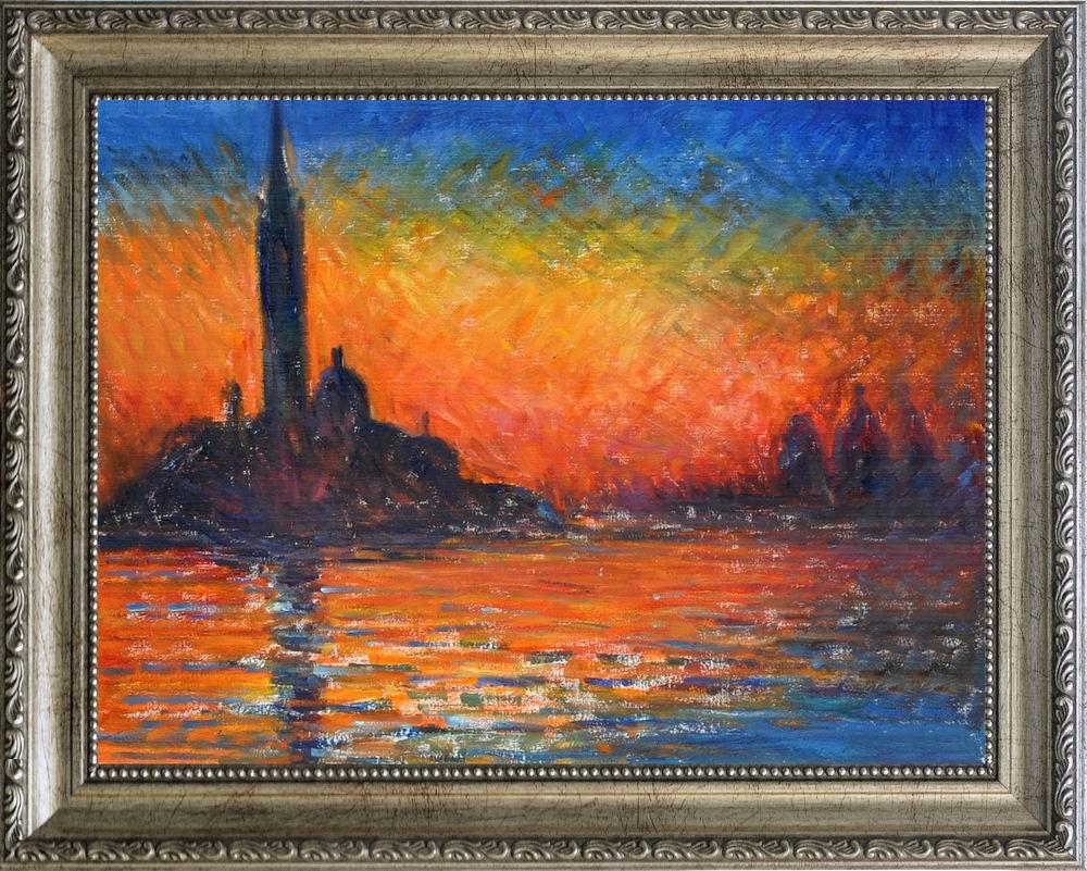 【送料無料】複製名画油絵モネ作「黄昏 ヴェネツィア」 額付き 絵画サイズ: 50x60 cm