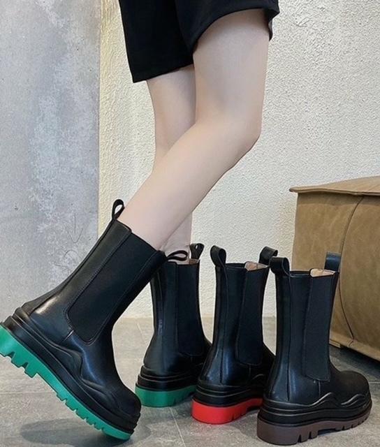 切り替え部分 無料 ストレッチ素材使用タンクソールで安定感抜群歩きやすいサイドゴア 今トレンド 2020AW 新作 脚長 ブーツ 足長効果 細見え 異素材 NO お得 配色ブーツ 軽量ブーツ 04-1181サイドゴアブーツ
