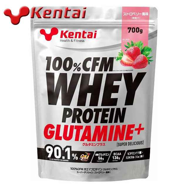 ケンタイ 100%CFMホエイプロテイングルタミンプラス マッスルビルディング ストロベリー風味 700g KENTAI k222