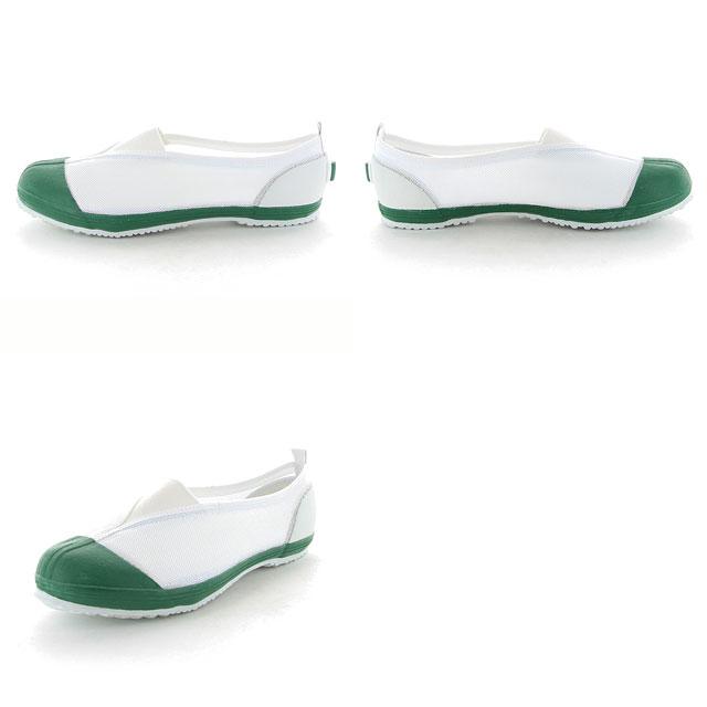 ムーンスター子供靴/メンズ/レディースカラーメッシュ02グリーンムーンスター踵踏付け防止機能搭載の上履きMSシューズ