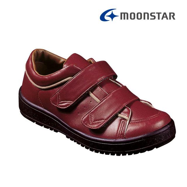 ムーンスター レディース リハビリ 介護靴 片足販売 Vステップ05 右足のみ ワイン 装具対応シューズ MS シューズ