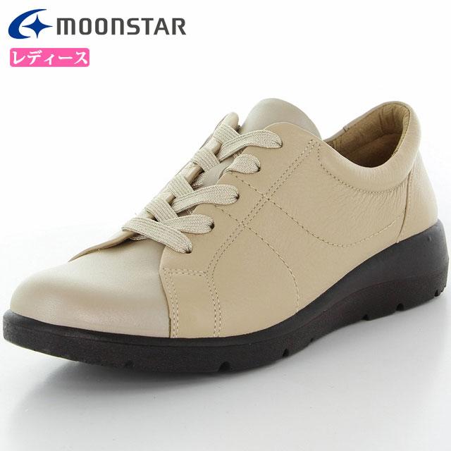 ムーンスター レディース シューズ スポルス SP5100 ベージュC 42324248 MS 女性用 コンフォートシューズ ふっくら柔らかい素材の中底 軽量設計 4E 幅広 内側ファスナー付き 靴