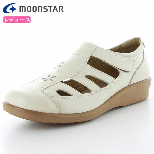 ムーンスター レディース シューズ スポルス SP5632 アイボリー 42324611 MS 足にやさしいガーメントレザー 柔らかくフィット清涼感あるサマーシューズ 靴