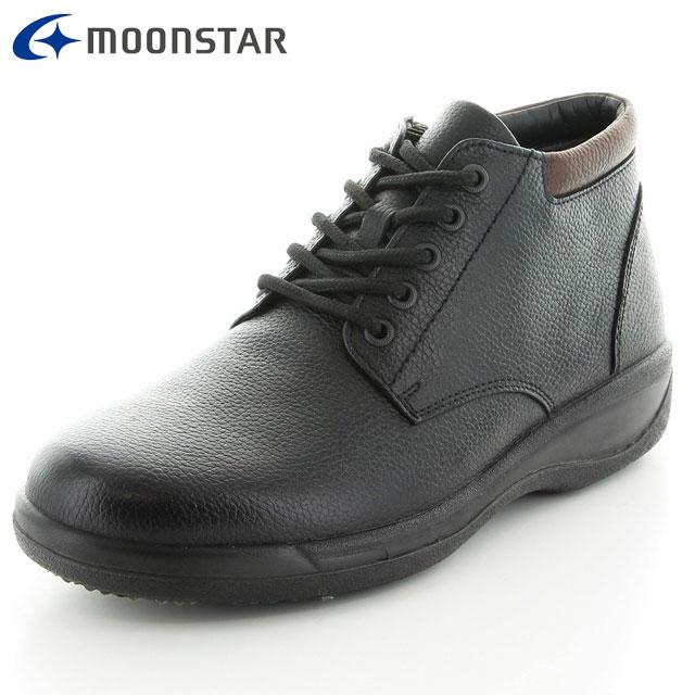 ムーンスター シューズ メンズ SPH8962WSR ブラック 42292956 MS 滑りにくい 雪寒地向け 本革 カジュアルブーツ 内側のファスナー付き 3E 靴