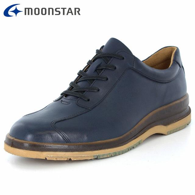 ムーンスター シューズ メンズ SPH7320TSR ネイビー 42293315 MS 滑りにくい 雪寒地向け カジュアルシューズ 4E ワイド 流れモカタイプ 撥水加工 日本製 靴