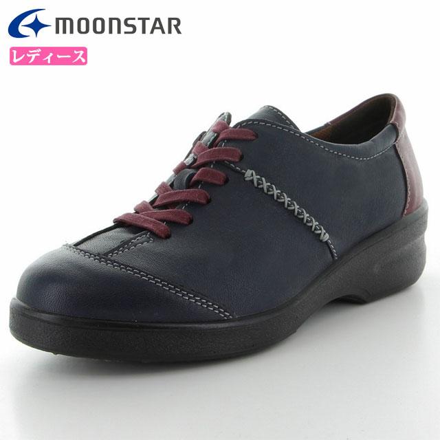 ムーンスター シューズ レディース スポルス レディース SP2103WSR ネイビーコンビ 42324375 MS 雪寒地向け コンフォートシューズ 撥水加工 日本製 内側ファスナー付き 靴