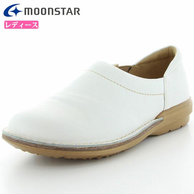 ムーンスター シューズ レディース SLスリップオン01 ホワイト 42600021 MS ライフスタイル カジュアル スニーカー スリッポンタイプ 甲の部分はやわらかくフィット 3E設計 靴