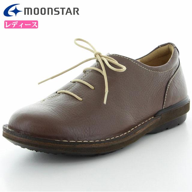 ムーンスター シューズ レディース SLアワセ01 ダークブラウン 42600039 MS ライフスタイル カジュアル スニーカー 3E設計 甲の部分はやわらかくフィット ステッチダウン製法 靴