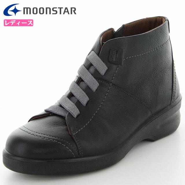 ムーンスター カジュアル ブーツ レディース SP2177WSR ブラック 42324506 MS 雪寒地向け ショートブーツ 4E ワイド コンフォート 本革 撥水加工 靴