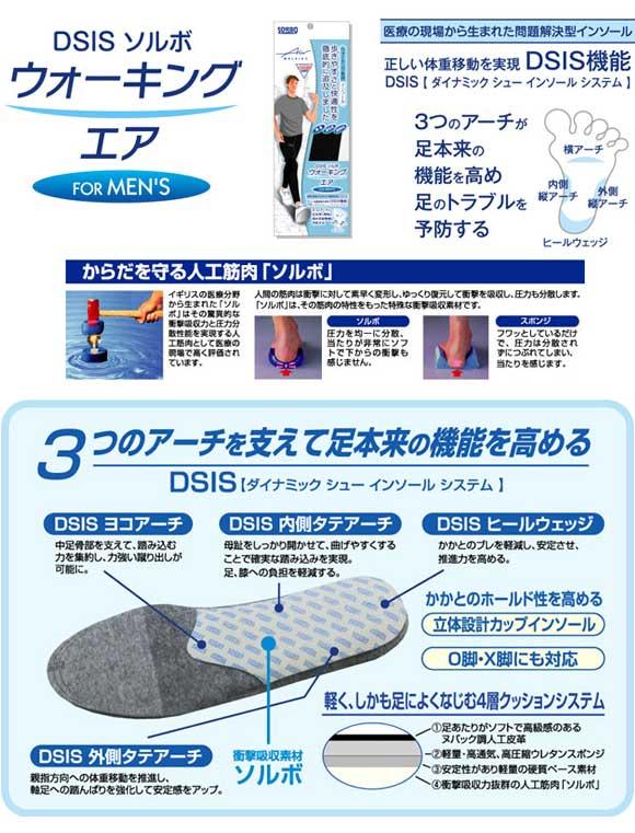 ネコポス ソルボ ウォーキングシューズ アクセサリー 5ZA910 DSIS ソルボウォーキングエア (S-L) (抗菌防臭) 中敷き インソール