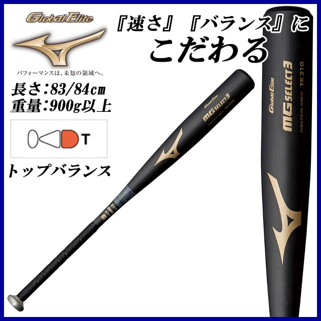 ミズノ MIZUNO 野球 硬式用 1CJMH103 グローバルエリート MGセレクト3 金属バット 83cm/84cm