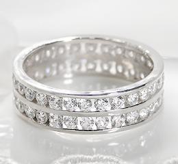 pt900 ダイヤモンド ダブル フルエタニティリング
