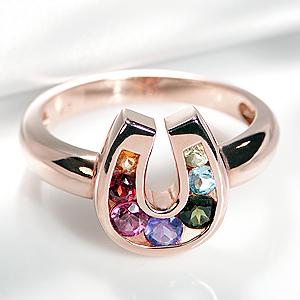 K18PG 馬蹄 アミュレット リングリング 指輪 アクセサリー レディース ジュエリー K18 18金 PG 18K ピンクゴールド お守り 7色 ホースシュー セブンカラー 厄除け 開運 幸運 天然石 送料無料 品質保証書 代引手数料無料