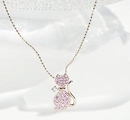 K18PG ピンクサファイヤ & ダイヤモンド ネコ モチーフ ペンダントパヴェ ピンクゴールド ネックレス ゴールド ジュエリー 18金 可愛い 人気 動物 猫 ねこ 個性的 プレゼント