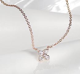 K10 PG フラワーモチーフ ダイヤモンド ペンダント