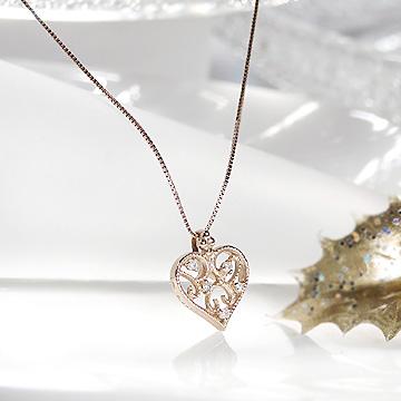 K18PG ダイヤモンド ハート ネックレス 【送料無料】【品質保証書】【代引手数料無料】【ラッピング済み】