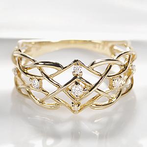 ◆K18YG ダイヤモンド リング指輪 ダイヤ リング ゴールド イエローゴールド 幅広 透かし プレゼント 大ぶり 4月誕生石【送料無料】【代引手数料無料】【品質保証書】