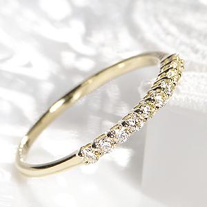 K18YG 0.2ct テンダイヤモンド エタニティ リング 人気 華奢 シンプル ジュエリー 指輪 リング ゴールド ダイヤモンド 10粒 結婚記念日 送料無料 重ねづけ スイート 細身