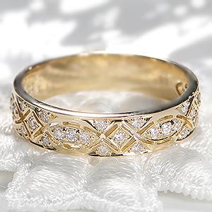 ◆K18YG 【0.2ct】ダイヤモンド リングアンティーク 可愛い 18金 指輪 ダイヤ リング ゴールド イエローゴールド 透かし プレゼント 4月誕生石【送料無料】【代引手数料無料】【品質保証書】