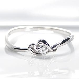 ☆Pt900 ハートモチーフ ダイヤモンド リング☆指輪 リング プラチナ 一粒 ハート 可愛い 細身 代引手数料無料 送料無料 品質保証書 ギフト ホワイトデー プレゼント