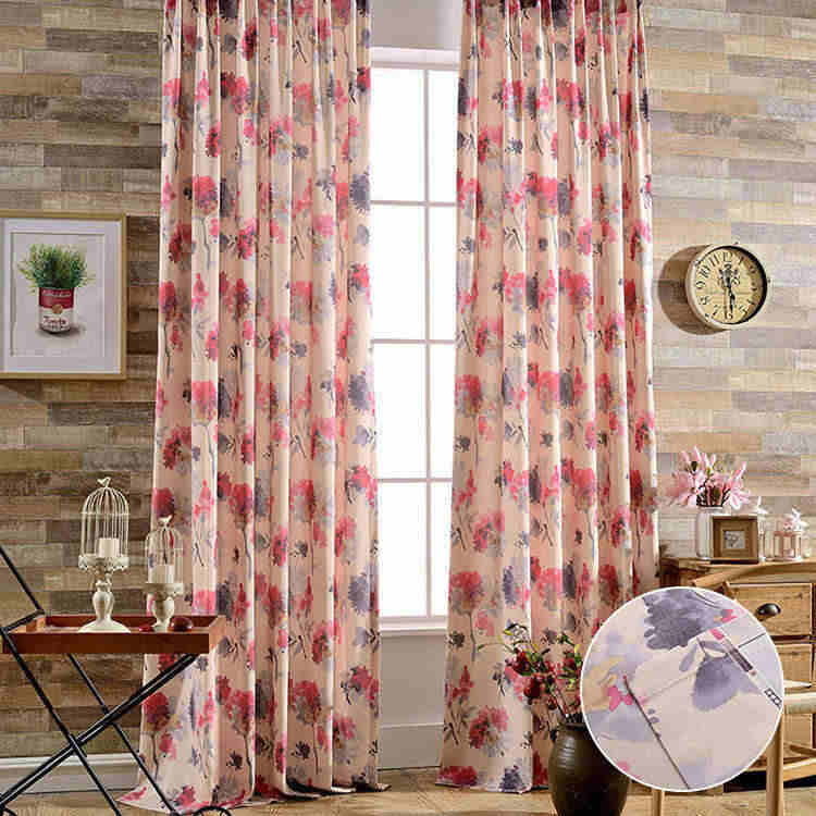 カーテン オーダー ドレープカーテン 花柄 水墨風オーダーカーテン 送料無料 書斎 裏地付き可能 遮光可能 遮像 タッセル付き アジアン風 柄 リビング ピンク curtain オーダーメイド おしゃれ かわいい 2枚組 1枚 窓 エレガント 安 飾り