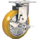 【シシク】ステンレスキャスター 制電性ウレタン車輪自在ストッパー付 SUNJB-125-SEUW【TN】【TC】【静電気対策キャスター(ウレタン車)/静電キャスター/キャスター/シシクSISIKUアドクライス】