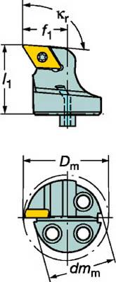 【サンドビック】サンドビック コロターンSL コロターン107用カッティングヘッド 570SDUCR1607[サンドビック ホルダー切削工具旋削・フライス加工工具ホルダー]【TN】【TC】 P01Jul16