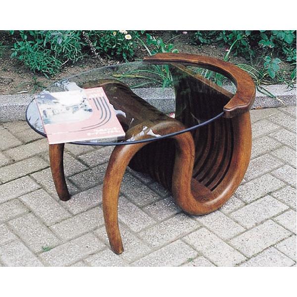 ミニチークガラステーブル(塗装品) 37061【JB】※代引不可 【TD】