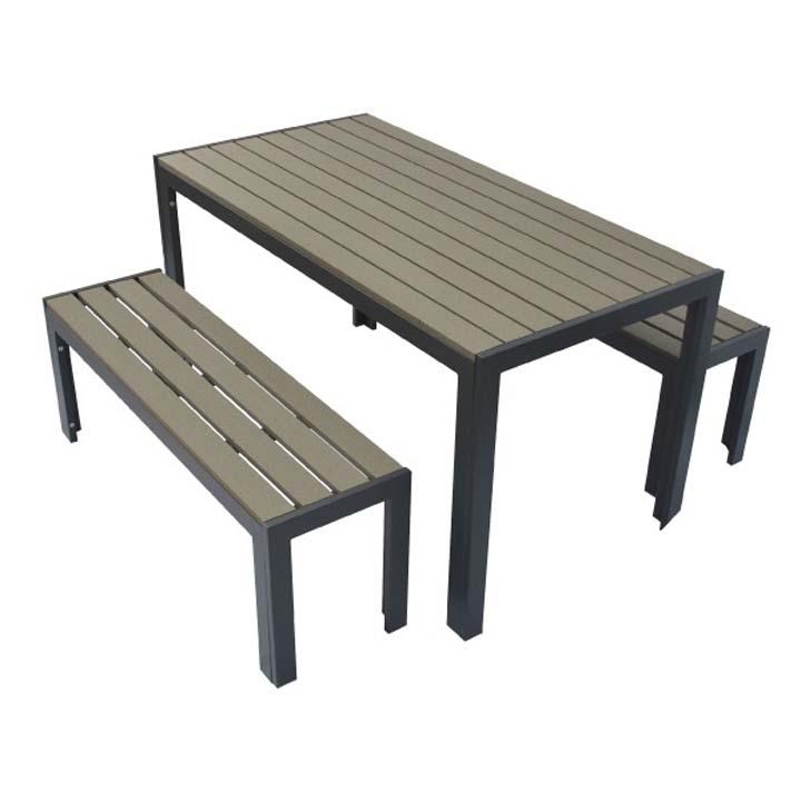 人工木テーブル長方形+ベンチ120 2台セット ダークブラウン 送料無料 ガーデンファニチャー ガーデン ガーデニング エクステリア 旭興進 【TD】 【代引不可】