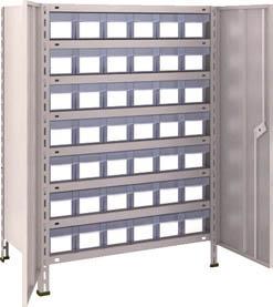 [TRUSCO]TRUSCO 軽量棚扉付 875X533XH1200 樹脂引出透明 小X42 43XT808C7[物流保管用品 物品棚 軽量棚 トラスコ中山(株)]【TC】【TN】【6ss】