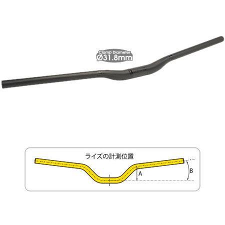 TIOGA ロングホーンカーボン20 ライザーバー 780mm 31.8mm 【送料無料】(沖縄・離島を除く)