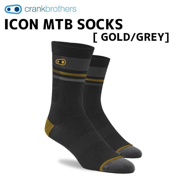 クランクブラザーズ サイクルウェア 靴下 高い通気性 crank brothers ソックス ICON 公式ショップ GOLD 2020 新作 GREY 自転車 SOCKS グレー MTB ゴールド