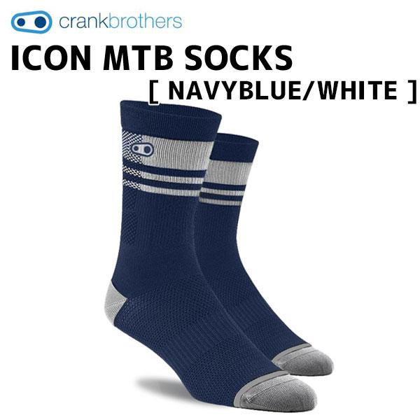 クランクブラザーズ サイクルウェア 最新号掲載アイテム 靴下 高い通気性 crank brothers ソックス ICON 自転車 NAVYBLUE ネイビーブルー WHITE SOCKS ホワイト MTB 特別セール品