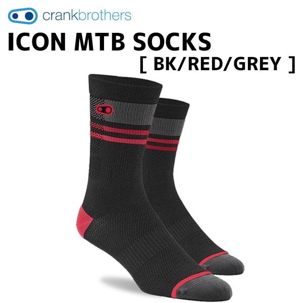クランクブラザーズ サイクルウェア 靴下 数量限定 高い通気性 crank brothers ソックス ICON MTB レッド GREY グレー BK 自転車 RED ブラック 商い SOCKS