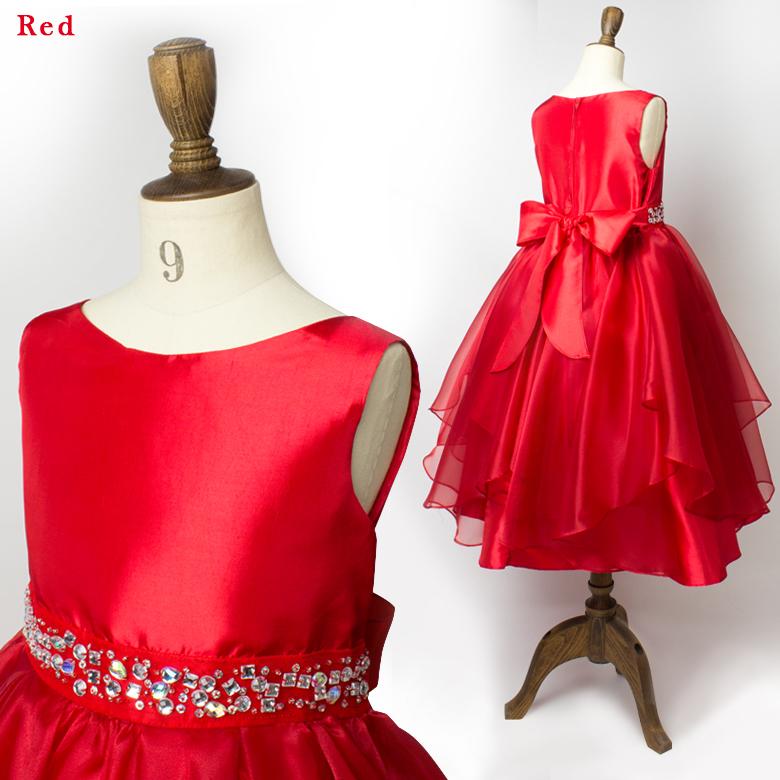子供ドレス赤ピンク女の子ピアノ発表会100110120130140150