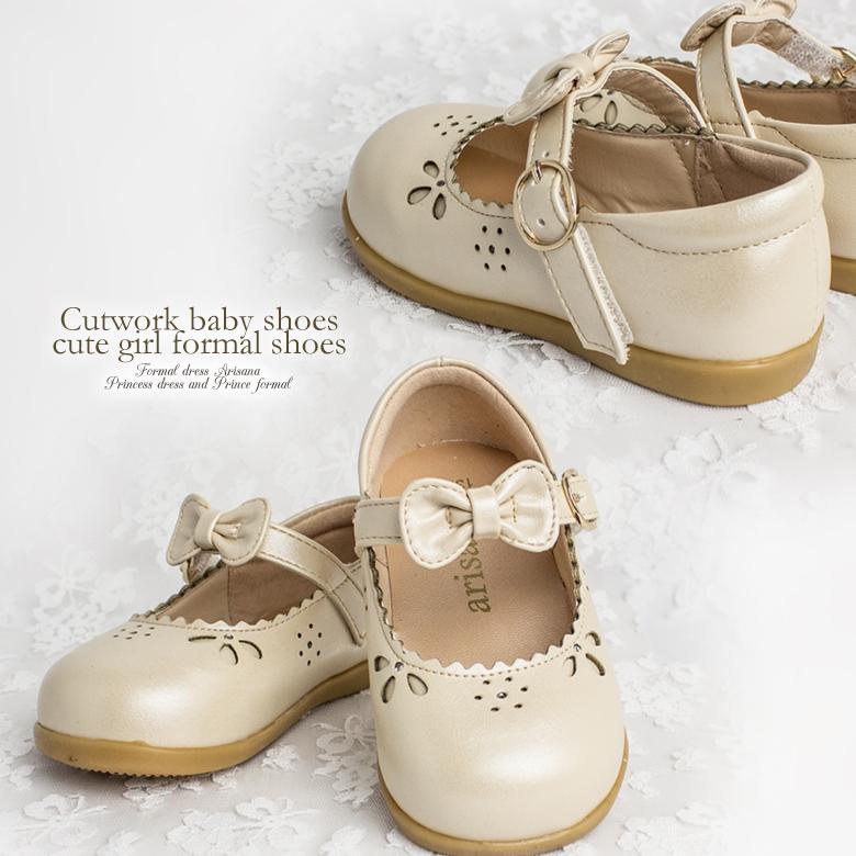 dc7aac3624304 ストラップリボンとカットワークのベビーフォーマルシューズフォーマルシューズ子供靴発表会結婚