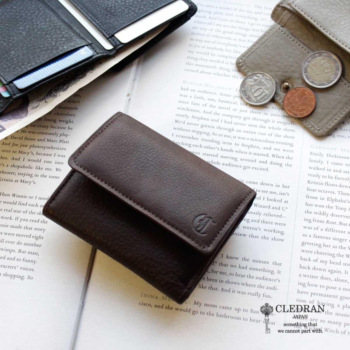 【メッセージカード・ラッピング無料】【選べるノベルティ大好評】CLEDRAN(クレドラン)GALE (ガレ) SMALL WALLET ミニ財布 3折財布 CL3059【日本製】