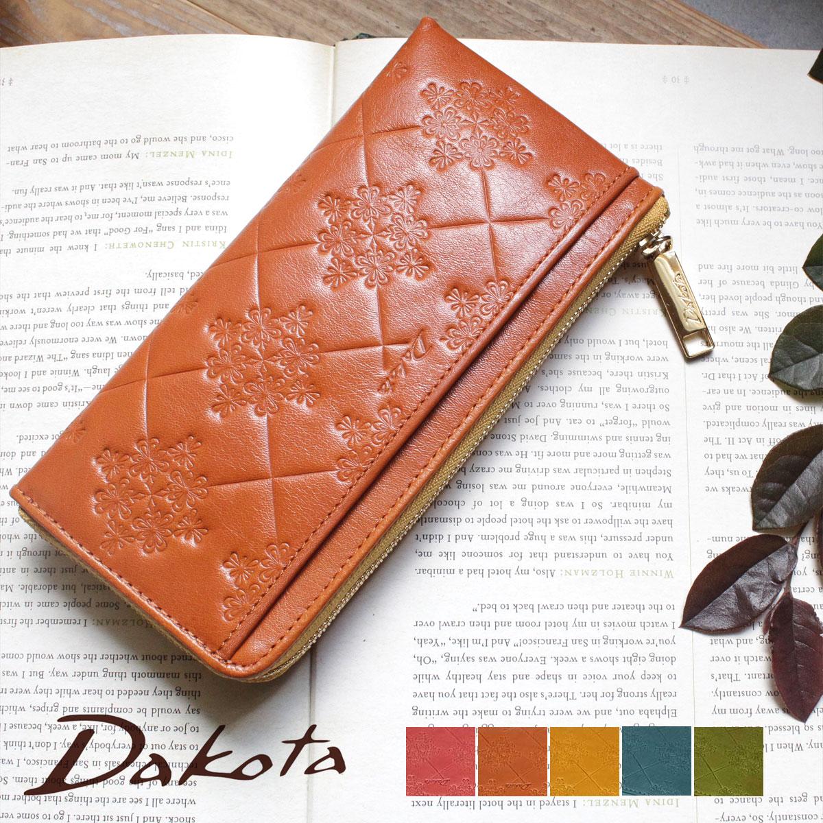【選べるノベルティ大好評】薄型 L字ファスナー長財布 Dakota ダコタ モナ イタリア製牛革 0035565