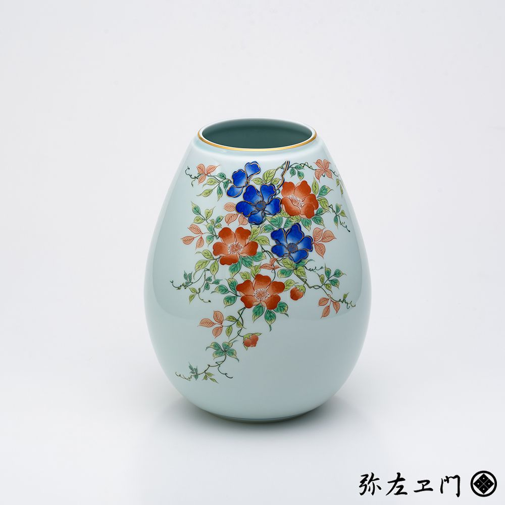 弥左ヱ門窯 有田焼 8寸姫型花瓶 野ばら │ フラワーベース ギフト プレゼント 贈答用