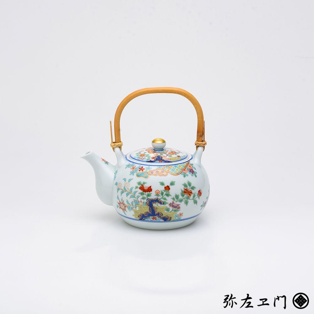 弥左ヱ門窯 有田焼 土瓶 色絵草花紋 │ ギフト プレゼント 贈答用