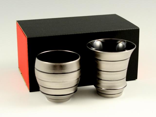 有田焼 匠の蔵 徳幸窯 銀独楽 ペア(丸・反)SAKE GLASS(日本酒グラス)
