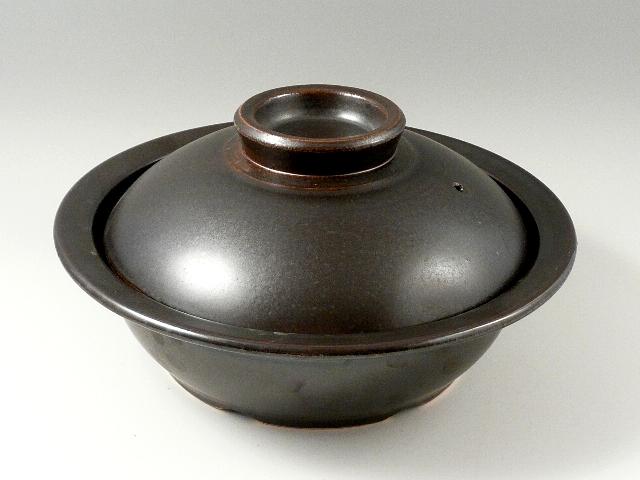 【IH対応】有田焼 安楽窯 黒釉土鍋 9寸(27cm 内23cm 2~3人用)