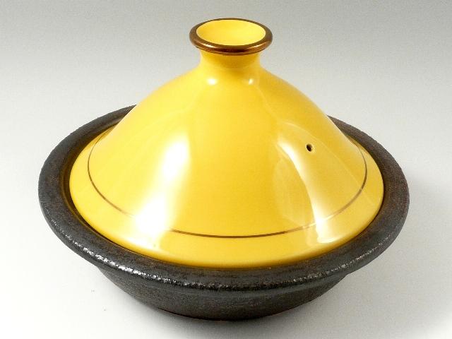 おいしさの秘密はとんがり帽子にあります IH対応 有田焼 安楽窯 タジン鍋 8寸 黄釉金巻 新品 メーカー公式 2~3人用