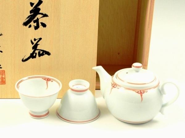 有田 波佐見焼 洸琳窯 渕瓔珞(赤) 小茶器揃(玉露煎茶5 ミニポット1)