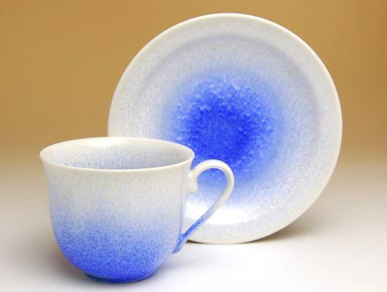 コーヒーカップ ソーサー セット 木箱入り 有田焼 波佐見焼 藍染水滴 コーヒー碗皿