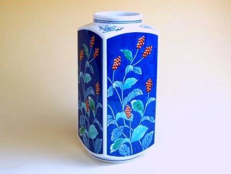 【有田焼】濃草花 角花瓶【あす楽対応商品】(月~土)※13時までのご注文で翌日お届けが可能です