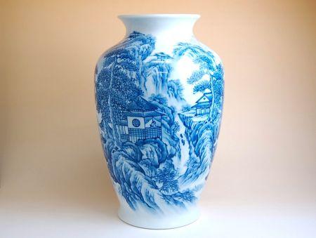 花瓶 陶器 木箱入り 贈答用 有田焼 波佐見焼 遠山水